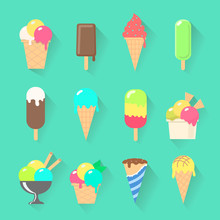 Set Of Ice Cream Icons In Flat Style On A Stick,   Waffle Cup