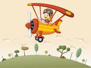fototapeta  samolot nad zielonymi wzgórzami