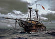 canvas print picture - Abandoned ship at the sea