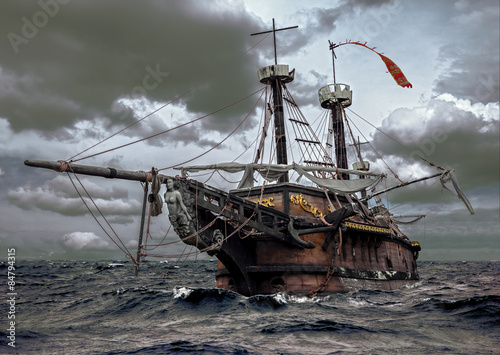 Tuinposter Schip Abandoned ship at the sea