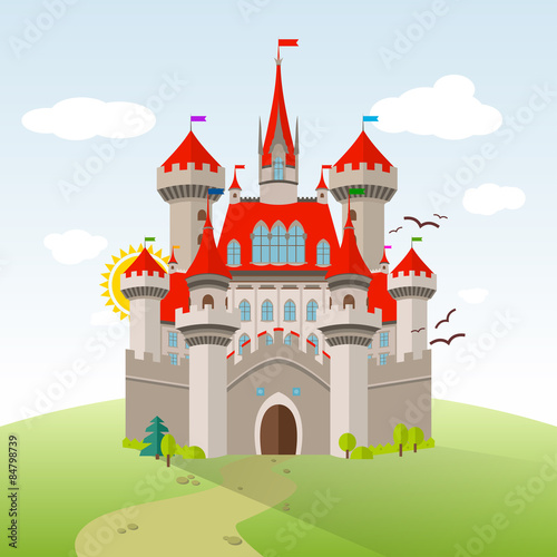 Poster Kasteel Fairy-tale Castle. Vector Imagination Child Illustration. Flat Landscape with Green Trees, Grass, Path, Stones and Clouds
