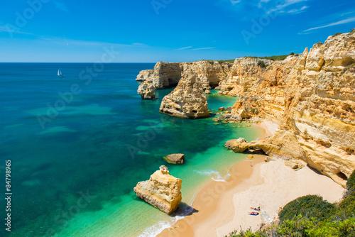 Praia da Marinha - Beautiful Beach Marinha in Algarve, Portugal Canvas Print