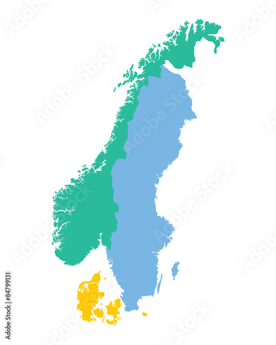 map of the Scandinavian countries (Norway, Sweden and Denmark ...