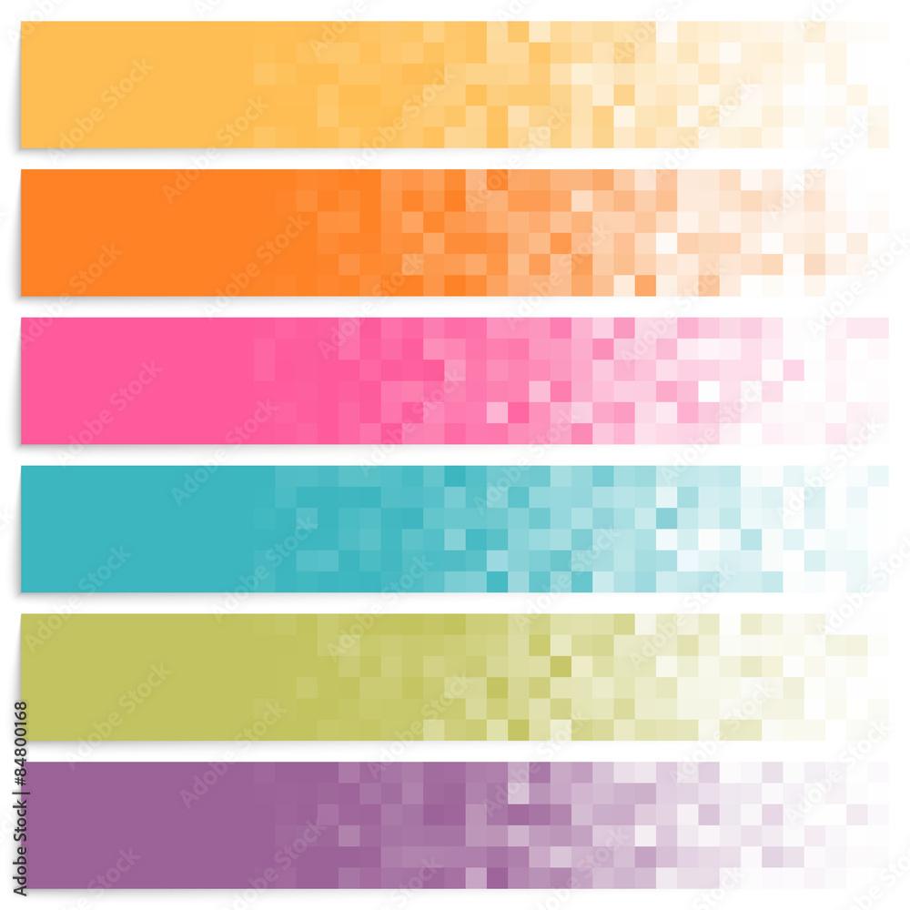 Fototapeta Set of colorful pixel banners