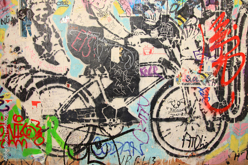 Deurstickers Graffiti graffiti berlín bicicleta 6221-f15