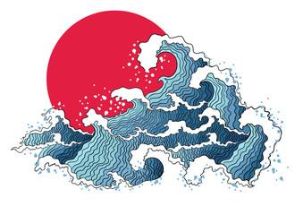 Obraz Asian illustration of ocean waves and sun.