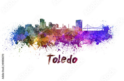 Toledo skyline in watercolor