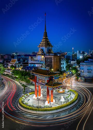 Traffic in china gate, Landmark of chinatown and Wat Traimit (Temple of the Golden Buddha), Bangkok, Thailand. China gate or Royal Jubilee Gate is Landmark Chinatown in Yaowarat Rd. (Odeon Roundabout)