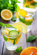 Dewy drinks with cucumber, orange and lemon
