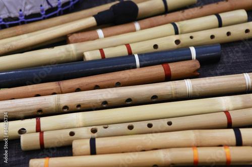 Foto op Canvas Muziekwinkel flutes