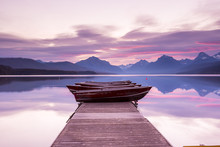Boats Sit On The Dock At Lake ...