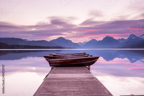 Boats sit on the dock at Lake McDonald
