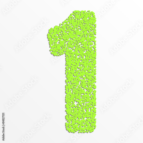 Poster Printemps Vector colorful digits with grain texture, digit 1