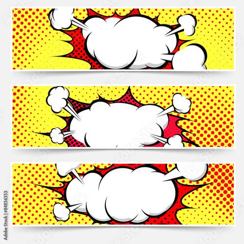 Photo  Comic book style pop-art header set