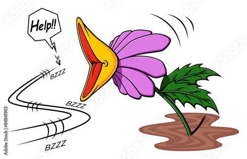 Stampa su Tela Illustration of cartoon carnivorous plant while it is about to capture a fly