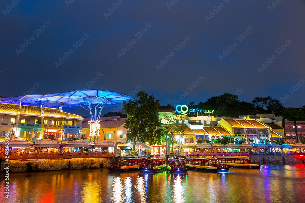 Fototapety, obrazy: olorful light building at night in Clarke Quay, Singapore