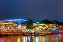 Olorful Light Building At Night In Clarke Quay, Singapore
