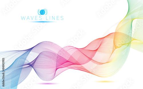 Photo  rainbow waves colorful gradient light blend line vector curves