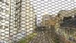 Vías y catenarias tras una valla de proteccción en Barcelona