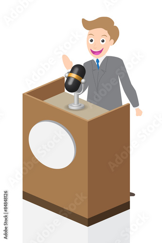 Businessman speaking on stage with microphone and podium, illustration, vector Poster