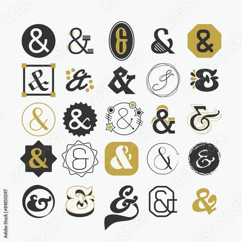 Ampersand sign and symbol design elements set Wallpaper Mural