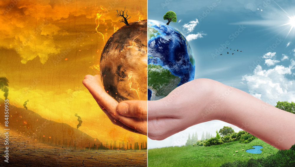 Fototapety, obrazy: Global Warming and Pollution Concept - Sustainability (Elements of this image furnished by NASA)