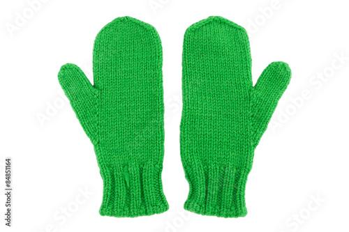 Fotografie, Obraz  Green wool mittens on white