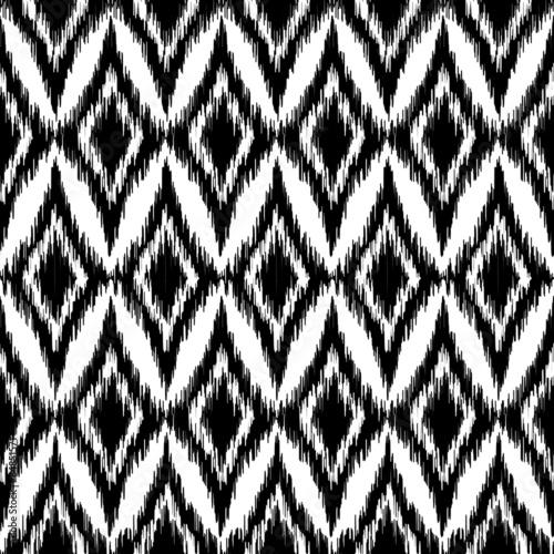 In de dag Boho Stijl Vector seamless black and white ikat ethnic pattern