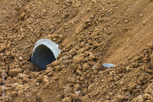 Valokuva  Concrete pipe pile soil