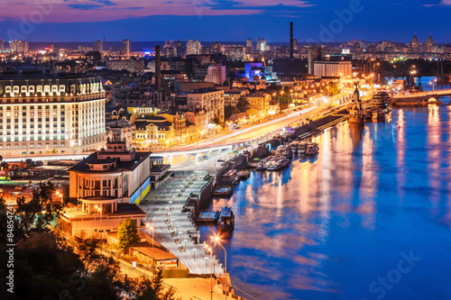 Deurstickers Kiev Evening aerial scenery of Kyiv, Ukraine