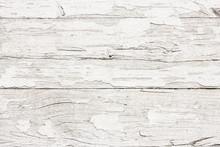 Grunge Peeling White Paint Wood Texture.