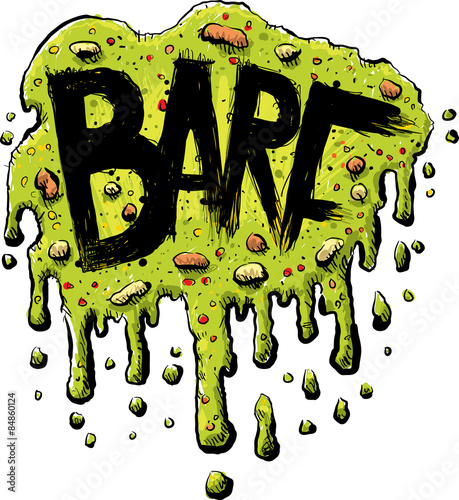 Fotografie, Obraz  Splattered, cartoon barf with the word BARF in bold, black letters