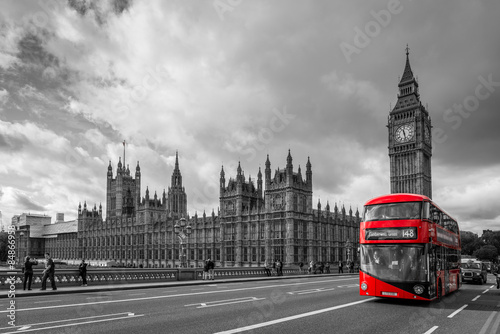 Poster de jardin Londres bus rouge Houses of Parliament and a bus, London