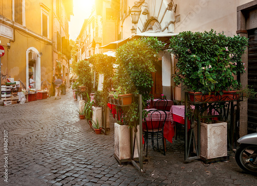 Foto  Old street in Trastevere in Rome, Italy