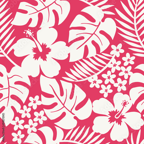 Cotton fabric Seamless one color tropical flower pattern