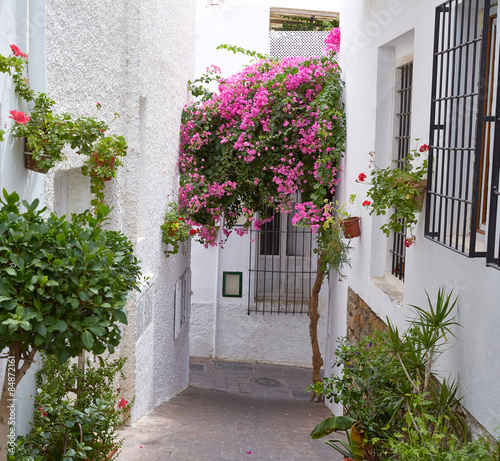 Printed kitchen splashbacks Narrow alley Mojacar Almeria white Mediterranean village Spain