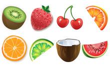 Fruits Set Icons High Quality ...