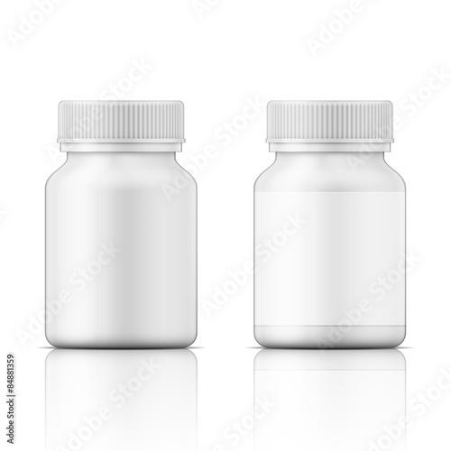 Fotografia, Obraz  White plastic bottle for pills.