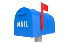 Blue Mailbox With Red Flag Up Isolated