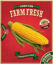 Vintage Farm Fresh Corn Poster Design