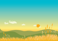 Summer Background. Illustration Of A Warm Summer Landscape With Flowers, Wheat And Grass. Vector Illustration