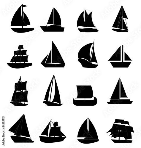 Sailboats icons set Wallpaper Mural