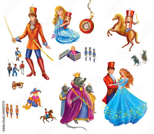 Fotografía  Set cartoon Characters  for fairy tale Nutcracker