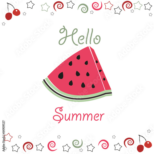 Staande foto Retro sign Summer time background slices of watermelon and cherry.