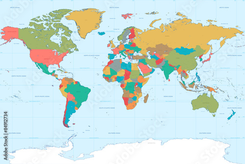 Fotografie, Obraz  Flat Colors World Map