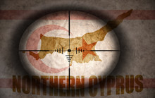 Sniper Scope Aimed At The Vintage Northern Cyprus Flag And Map