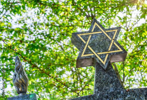 Photo Jewish cemetery: Star of David on the tombstone