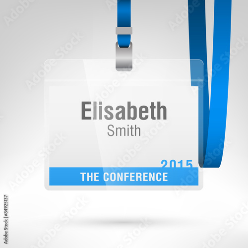 conference badge blank badge template in plastic holder with strap