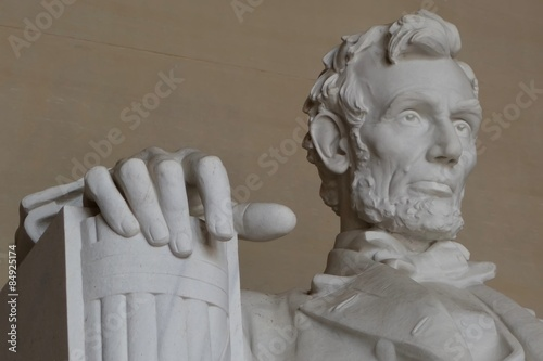 фотография  close up of Abraham Lincoln at the Lincoln memorial in Washington DC
