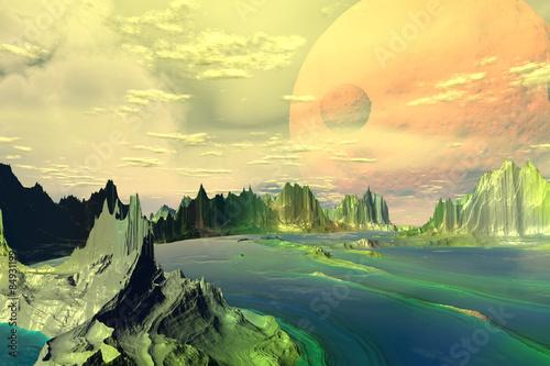 Tuinposter Zwavel geel Fantasy alien planet.